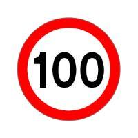 Ograniczenie do 100km znak