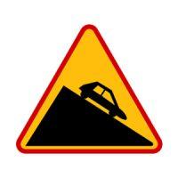 znak ostrzegawczy stromy zjazd